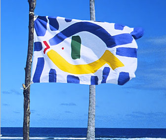Picture - EA's FLAG flapping in wind at beach of Western Samoa